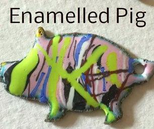 Enamelled Pig Badge