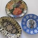 Reverse decoupage glass plate