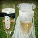 Bride & Groom Decorative Wedding Glasses