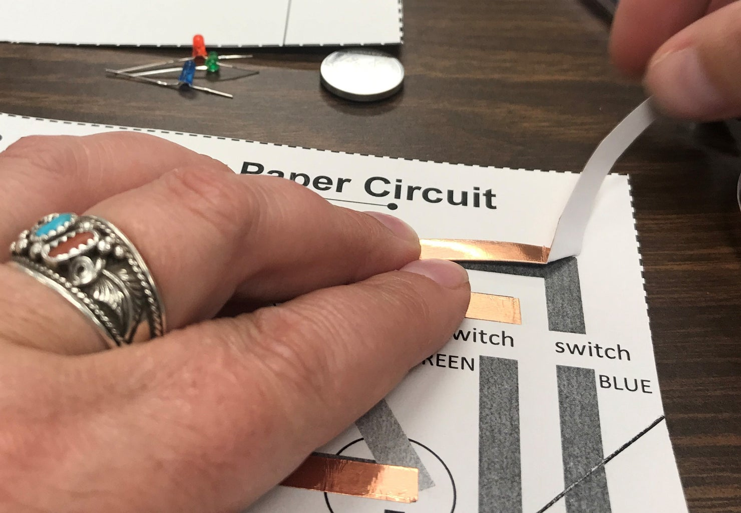 Repeat the 90 Degree Technique to Secure Next Piece of Copper Foil Tape.