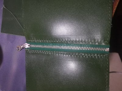 Sew Zipper on 2 Pieces of Inner Zipper Pouch Leather.
