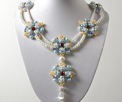 How to Make Double Strands Pearl Beads Pendant Necklace for Wedding