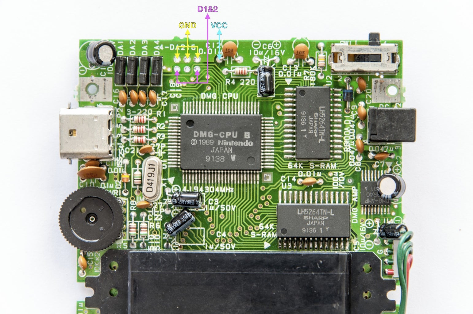 Identify the Data, Ground, and Power Pads for the Bi-vert Chip on the DMG Mainboard