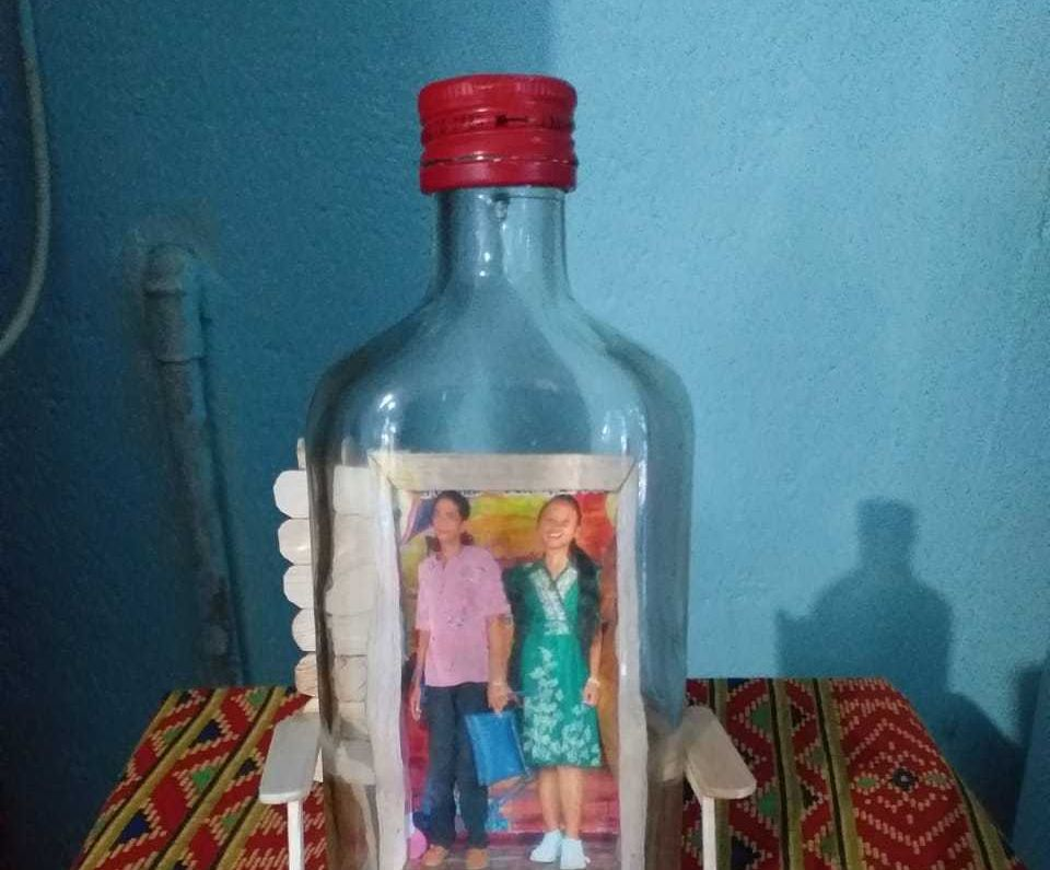 Photo in a Used Bottle As a Display