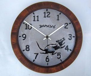 Banksy Inspired Cast Aluminium Clock