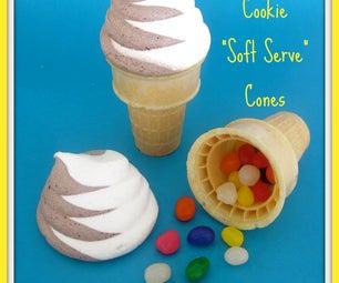"Meringue Cookie ""Soft Serve"" Cones"