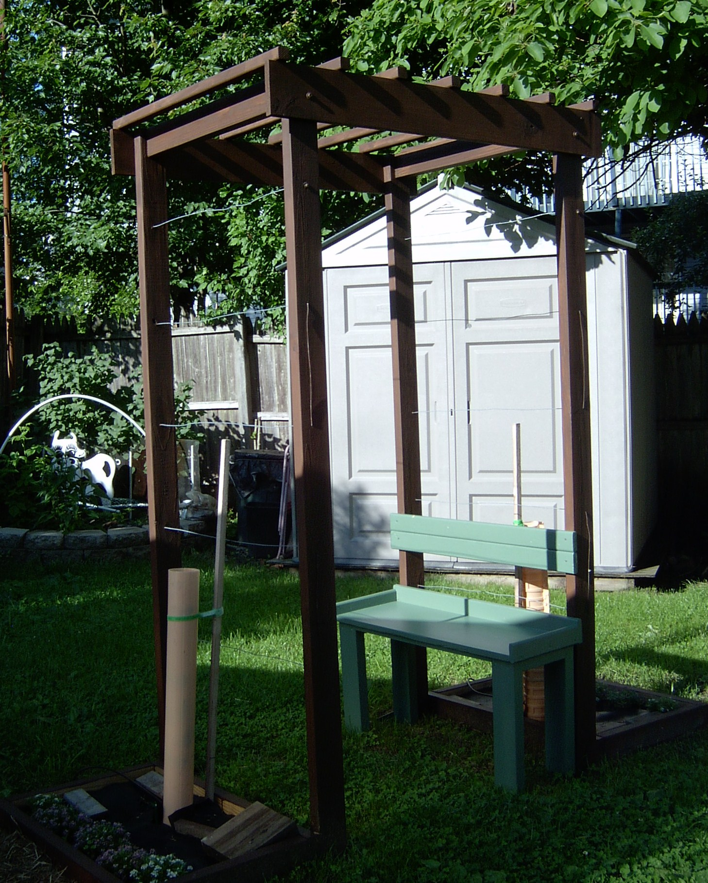 Grape Arbor with bench for a small space.