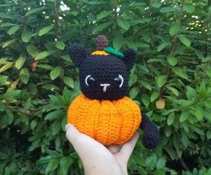 Crochet Halloween Pumpkin Cat