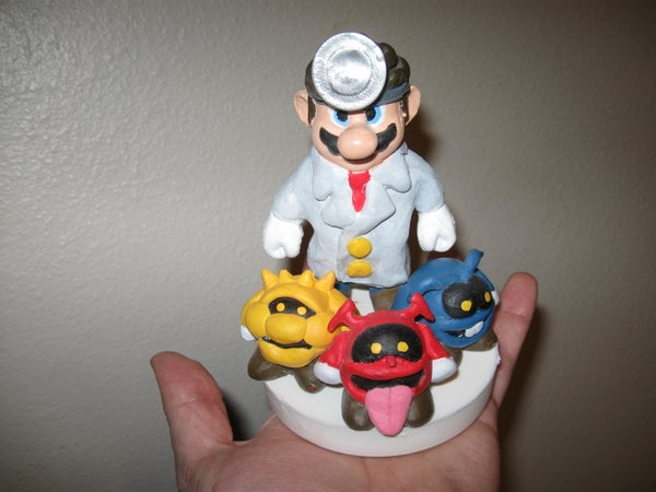 Dr. Mario Statue With Viruses