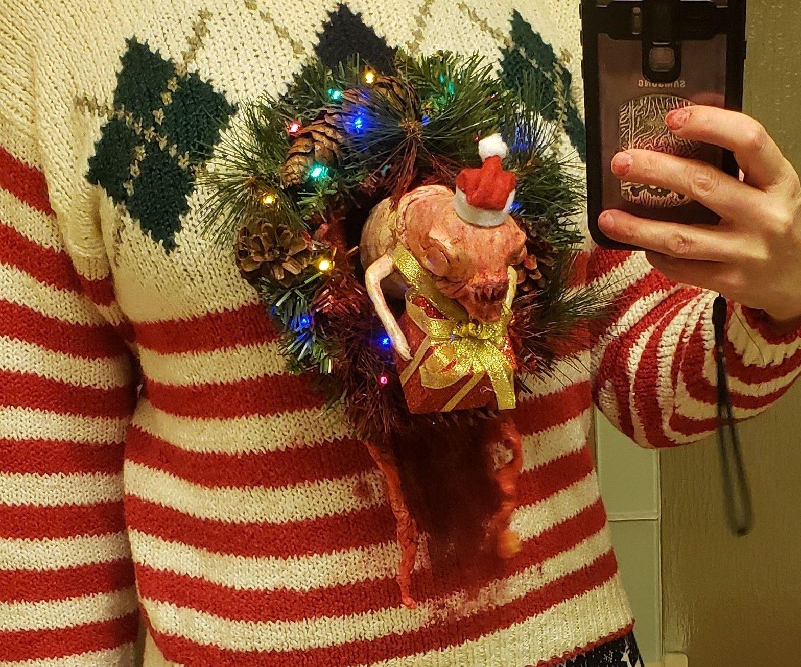 Festive Chestburster Ugly Christmas Sweater - ANIMATED!