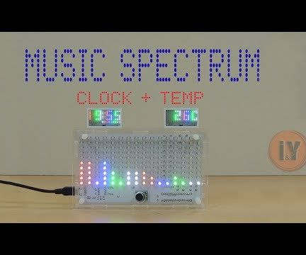 Music Spectrum With Digital Clock  and Temperature
