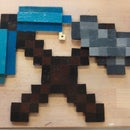 A Minecraft-themed wall decoration w/ pop out parts