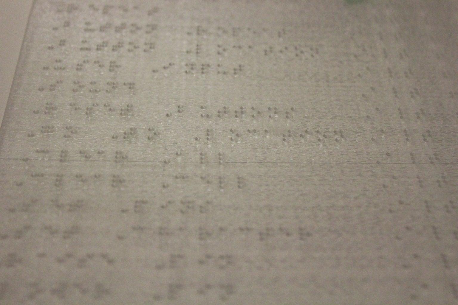 Lasercut Braille Sheet