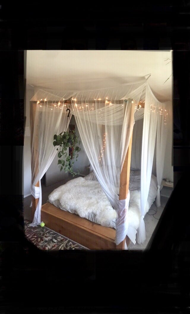 Wooden Canopy Bed Frame With Storage Compartment