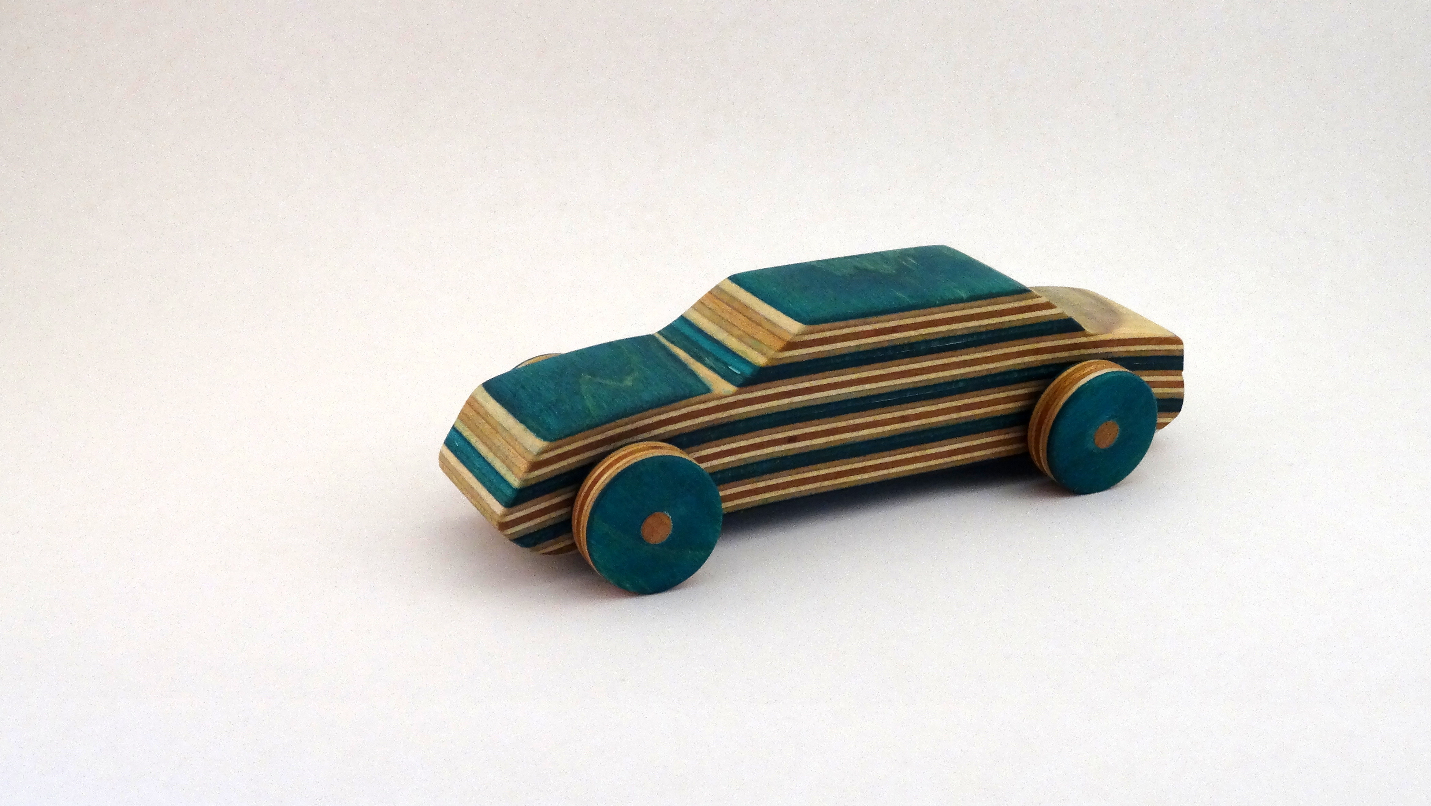 Wooden Toy Racecar Out of Recycled Skateboards