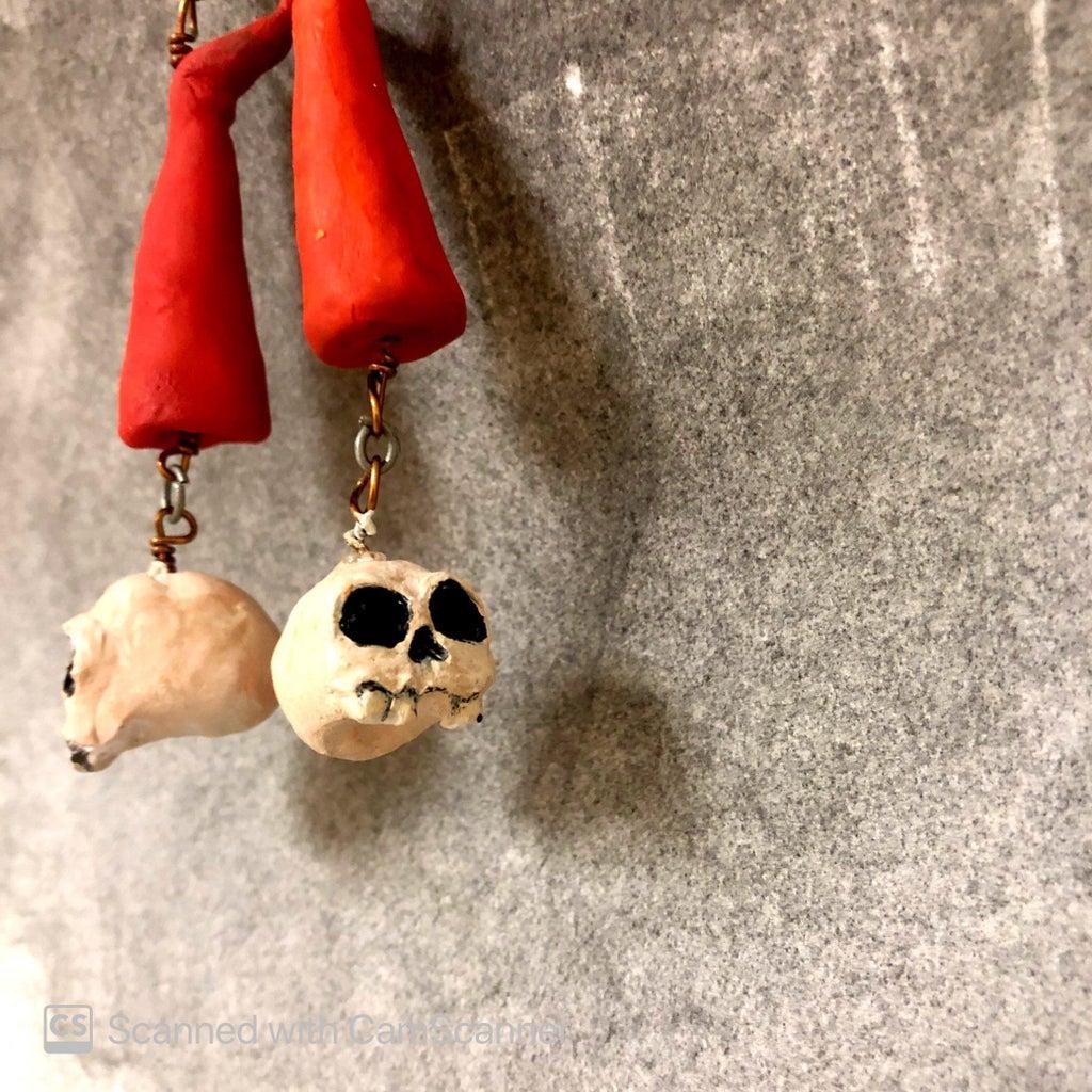 Sculpted Skull Earrings