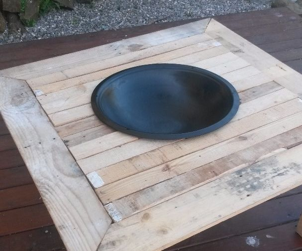 Outdoor fire pit on a table