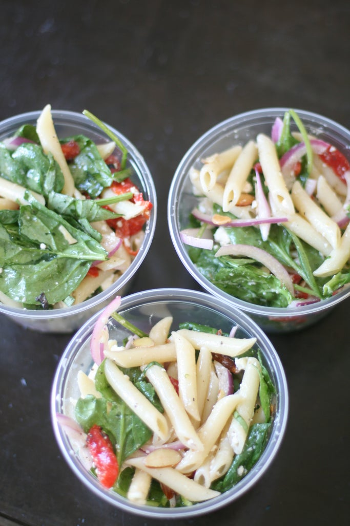Spinach, Feta, Roasted Bell Peppers Pasta Salad - Back to School