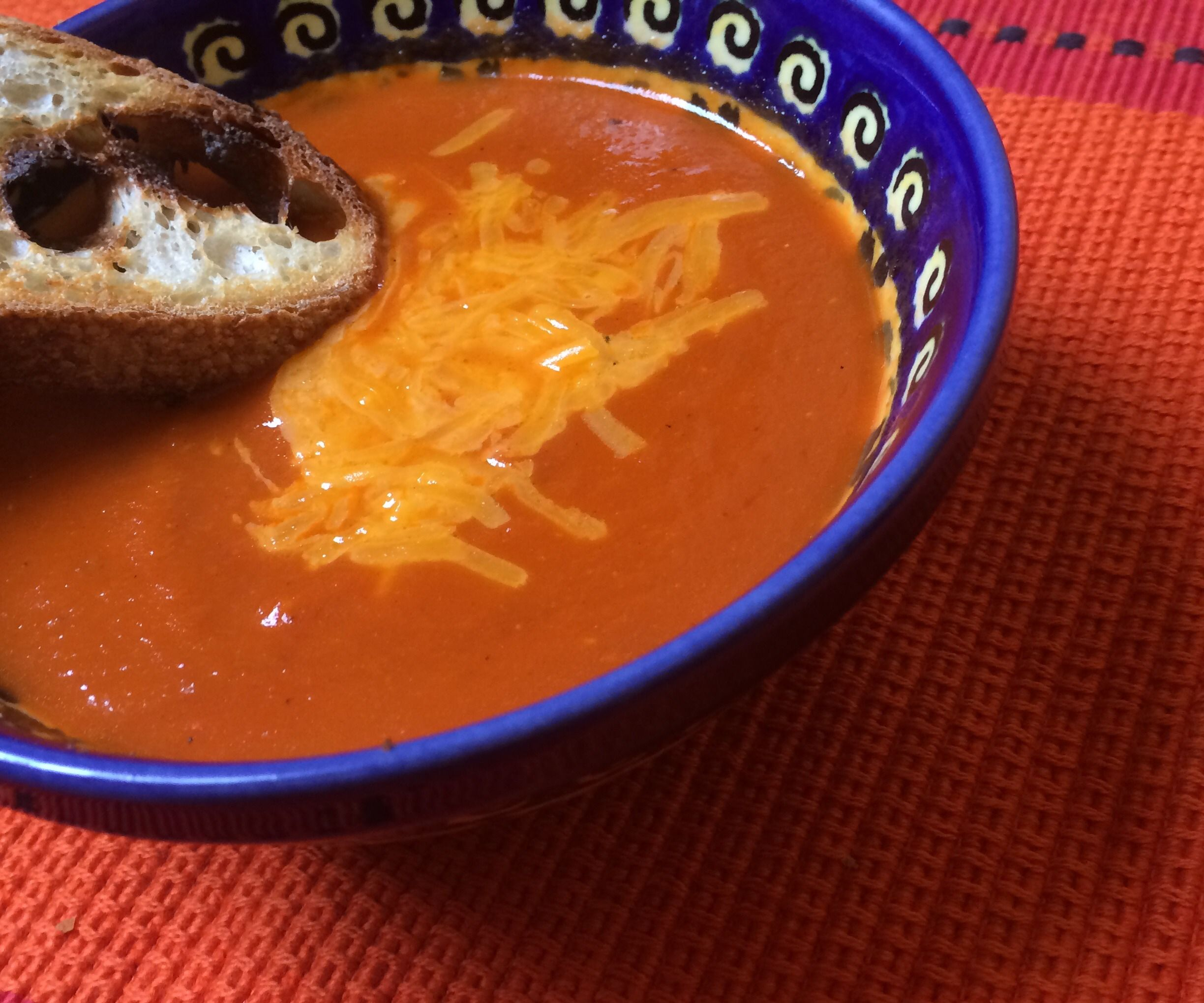 Spicy Tomato Cheddar Soup