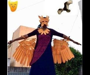 Orange Maniac[Wearable] : Phoenix Wings(200+ Feather Leaves), Bird Face Mask, Feather Capelet, Bird Feet!
