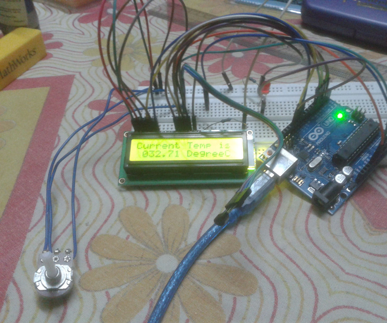 Sense Room Temperature and Display in LCD using Simulink and Arduino UNO