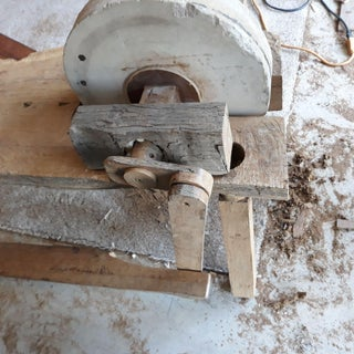 Old Fashioned Grinding Wheel Bench