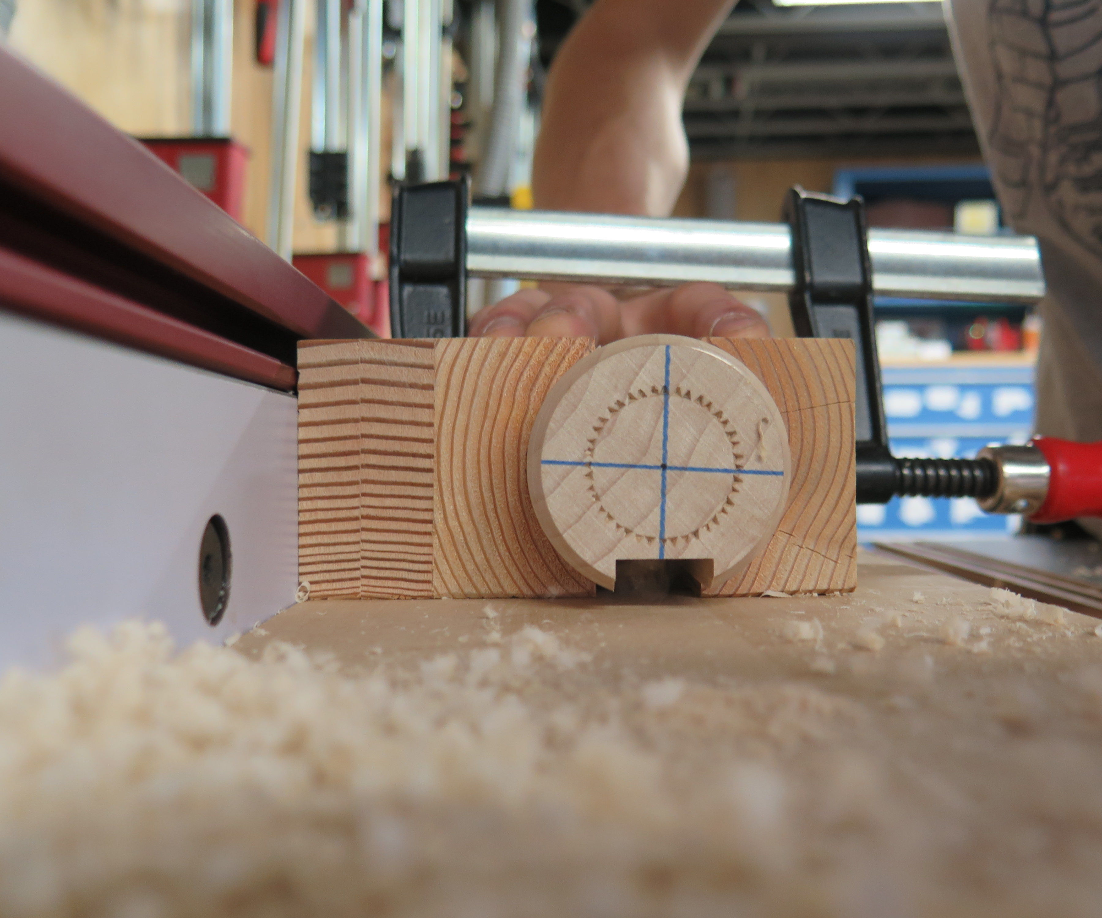 Safely Cut a Chanel in a Large Dowel