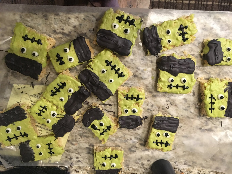 Frankenstein Rice Crispy Treats