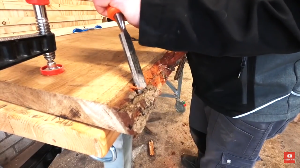 Removing the Bark From the Slab