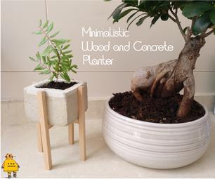 Minimalistic Wood and Concrete Planter
