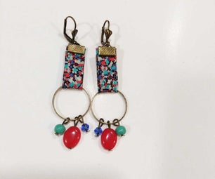 Colored Earring With Ribbon