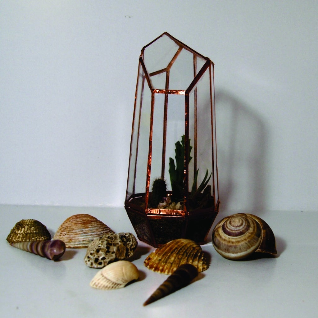 Geometric Crystal Terrarium Out of CD Cases