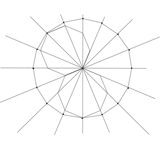 Using a Rigid Regular Octagon and a Straight Edge, Draw the Sides of a Regular Hexadecagon