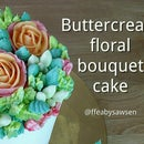 How to pipe a buttercream flower bouquet cake - with roses, parrot tulips, carnations & hypericum berries