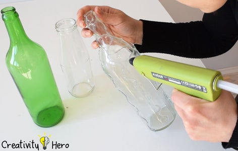 Making Patterns With Hot Glue and a White Glue. (Method 3: Decorating Bottles With Hot Glue and White Glue)