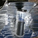Solar Water Heater for Backpacking Using Water Bottles and a Car Shade