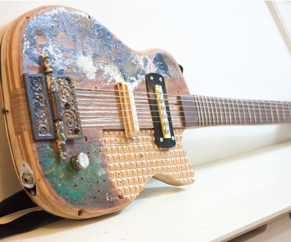 Reclaimed Plywood Guitar With Scratch-Built Pickup and 3d Inlay