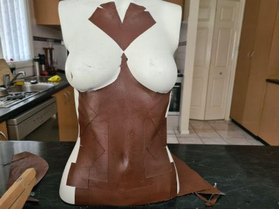 Glue the Faux Leather to the Mannequin