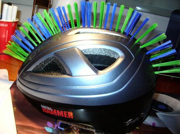 My Helmet Mohawk Made of a Scrubbing Brush