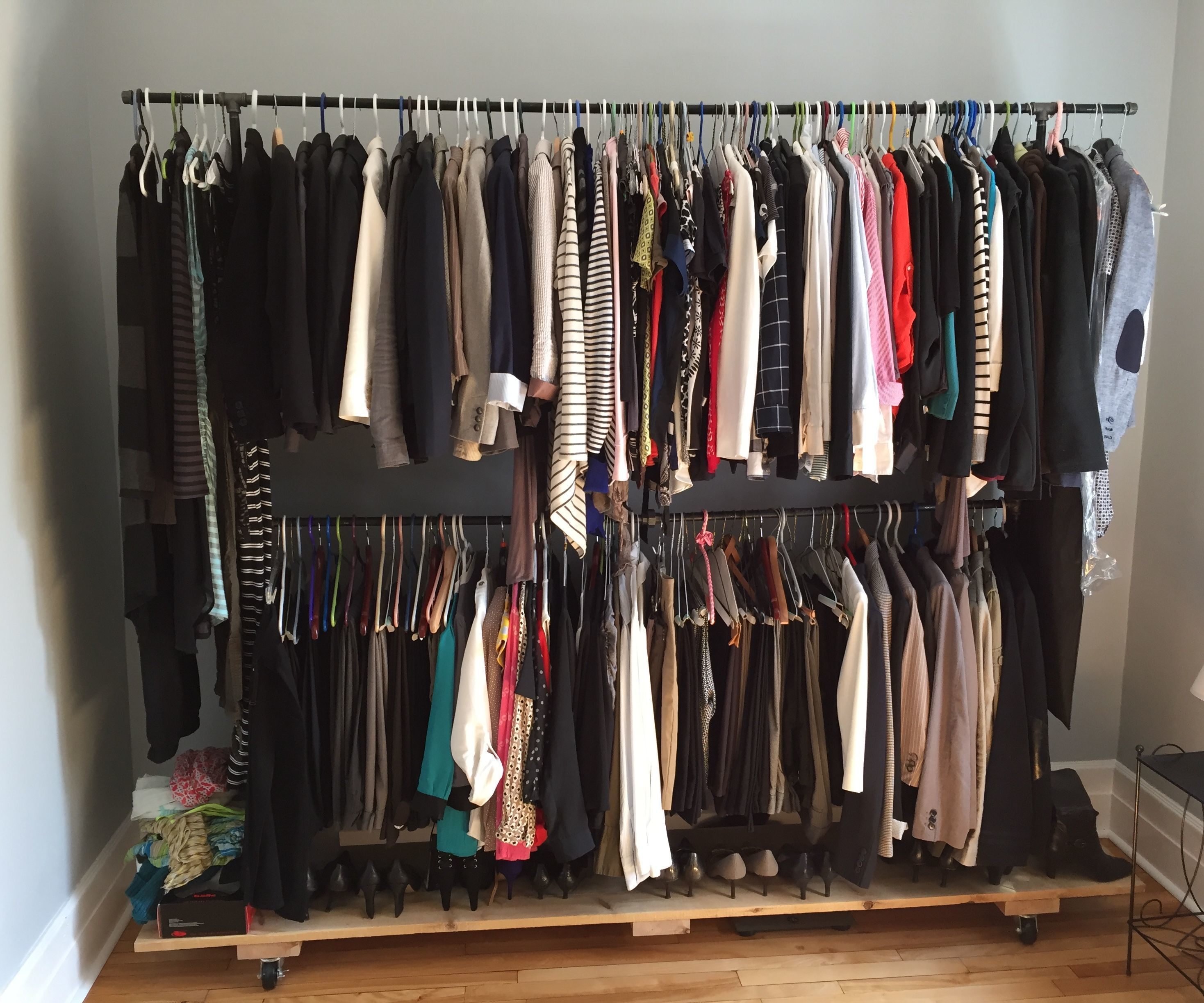 Black iron pipe garment rack