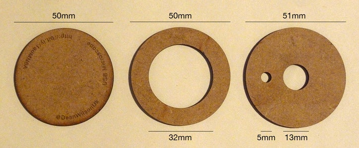Create Three Discs From 2-3mm Card or MDF