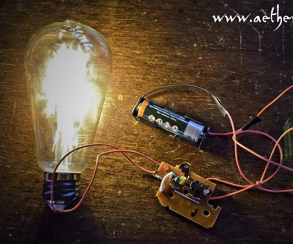 Run a 220V LED-filament Bulb With Only One Small 1.2V Battery
