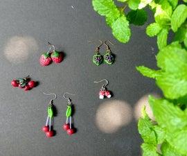 Epoxy Compound Cherry, Strawberry, Blueberry, Tiny Mushroom Earrings #Kids Special