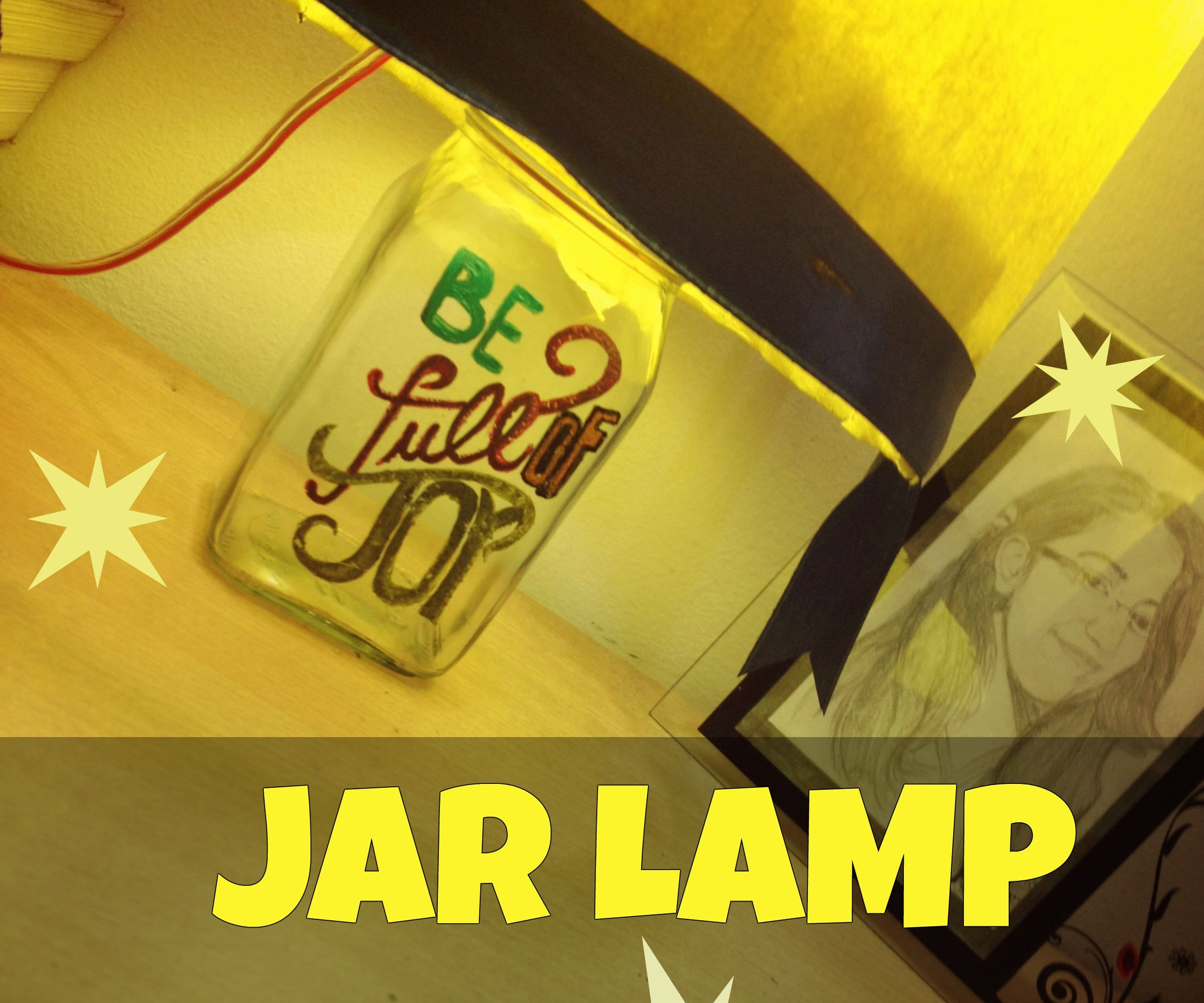 Hand-Painted Jar Lamp
