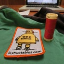 stitching on a Instructables patch.
