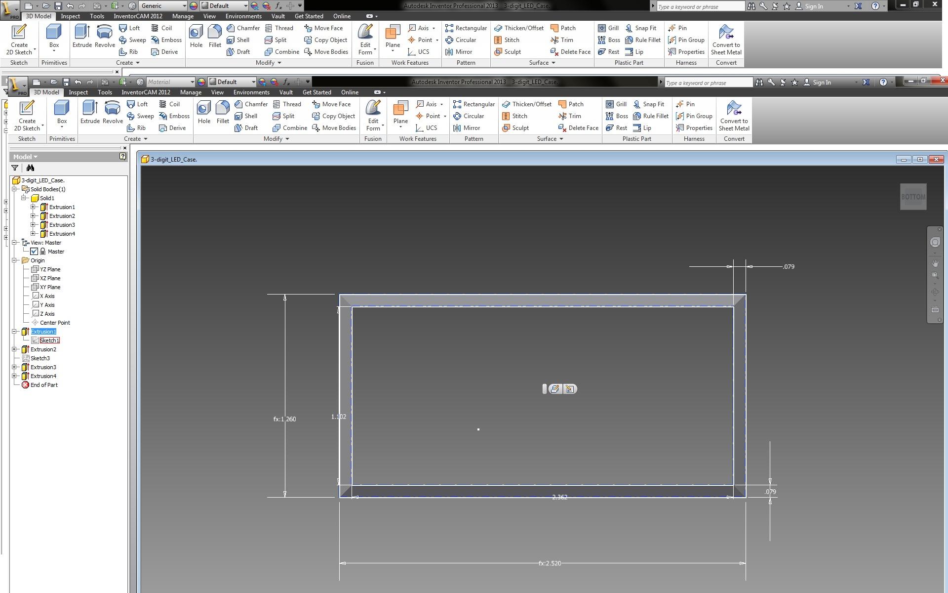 3D Printed Part. 3-digit 7-segment LED Enclosure.  I Made it at TechShop.