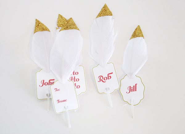 Holiday DIY: Gold-dipped Feather Gift Tags