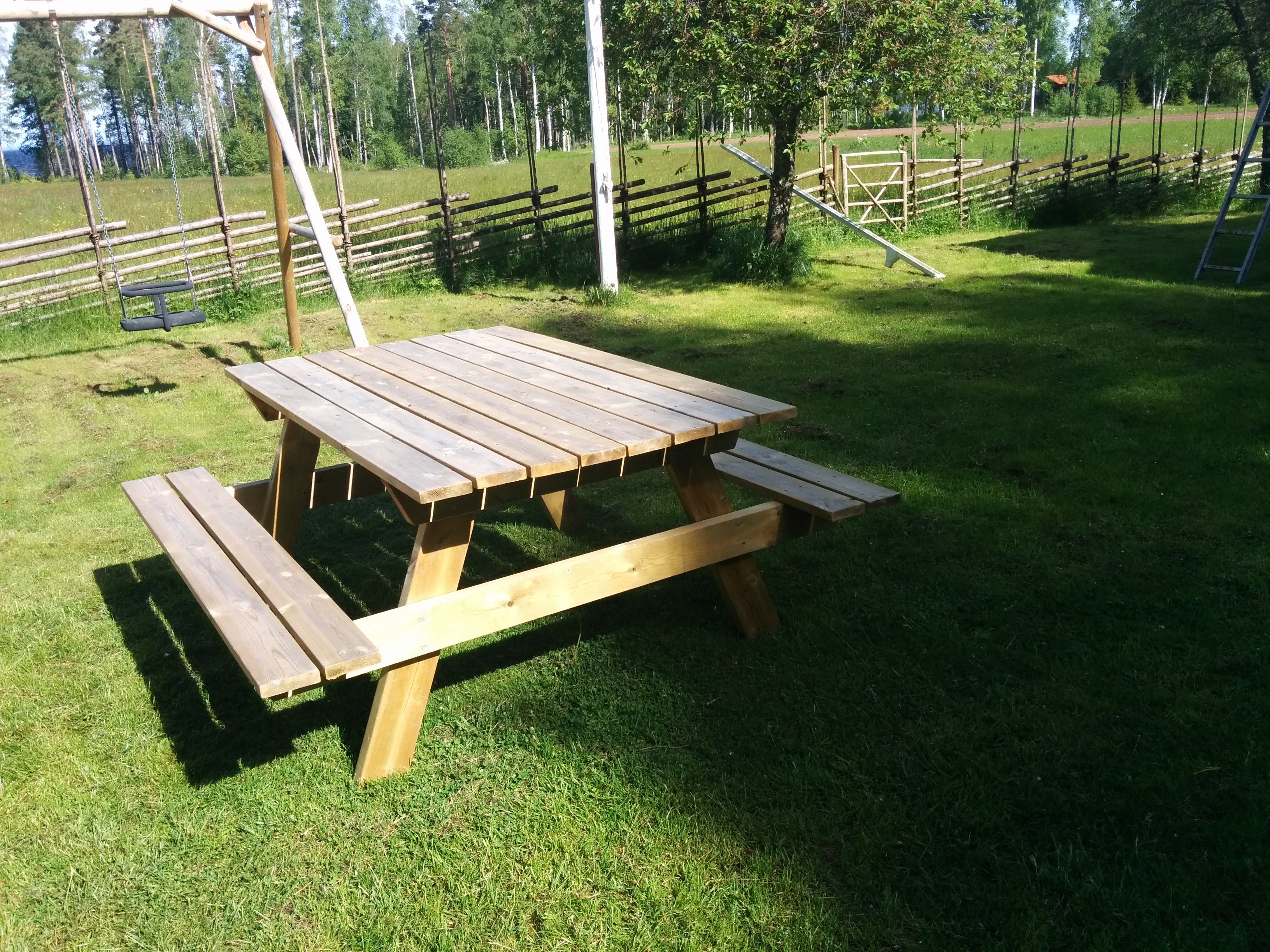 Garden table with benches