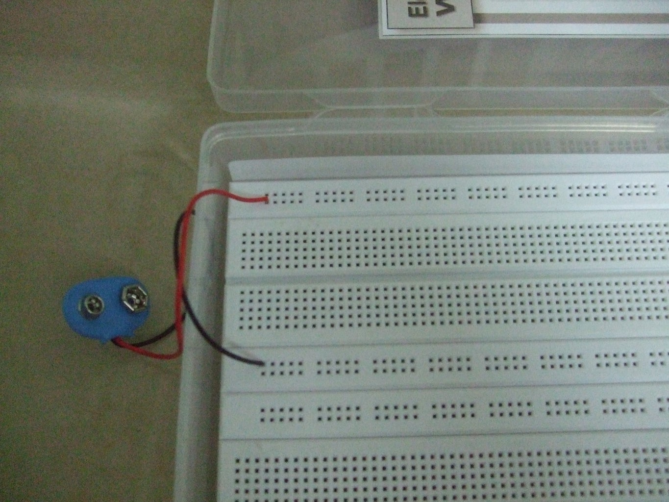 Connect Your Battery Connector to the Sides of the Breadboard...