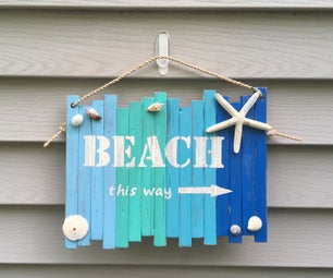 Recycled Wood Distressed Outdoor Beach Sign
